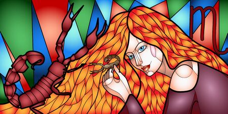 Bright illustration of a beautiful girl with long hair in the image of the zodiac sign Cancer, stained glass style Ilustrace