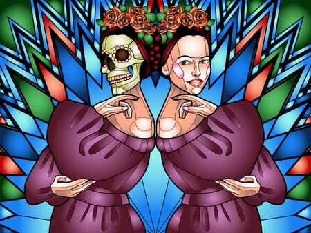 color illustration in the style of stained Glass depicting a beautiful girl with a skull instead of a face, a symbol of the traditional Mexican holiday Day of the dead and day of angels