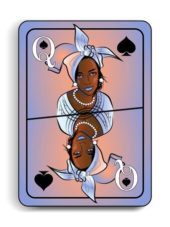 ancient playing card with the image of a beautiful girl in the national headdress, Queen of spades Ilustracja