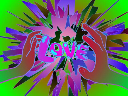 a vivid pop art illustration featuring a male and female hand holding the word love, amid splashes of paint Banque d'images - 134870991