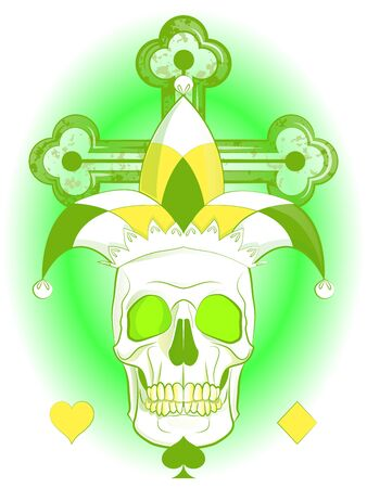 composition with a skull in a clown's hat on the background of a cross, a card Joker Stock Vector - 134870995