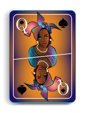 playing card with the image of a beautiful girl in the national headdress, the Queen of Spades