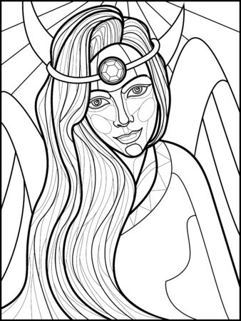 black and white illustration for self-coloring with the image of a fairy-tale heroine in the style of stained glass