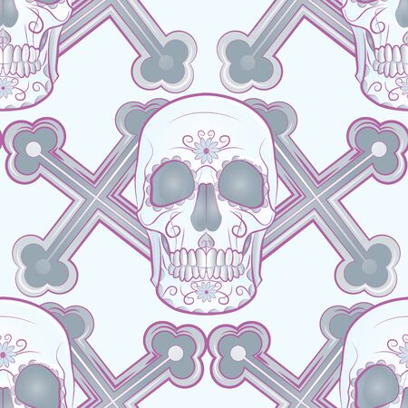 color seamless background in muted tones depicting a human skull on a background of crosses
