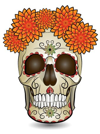 color illustration featuring human skull, holiday symbol day of the dead Vektorové ilustrace