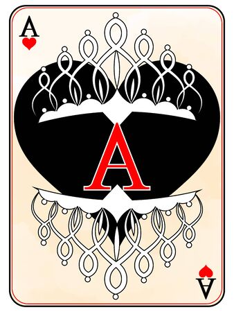 ACE of hearts playing card design in a classic color scheme