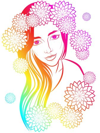 delicate illustration of cute girl with long hair decorated with chrysanthemum flowers