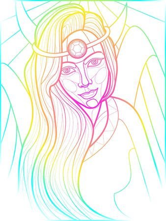 illustration for self-coloring with the image of a fairy-tale heroine in the style of stained glass Ilustracja