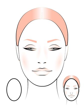 template for creating makeup with the image of a female face oval shape
