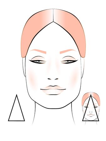 template for creating makeup with the image of a female face. the shape of an inverted triangle. Ilustracja