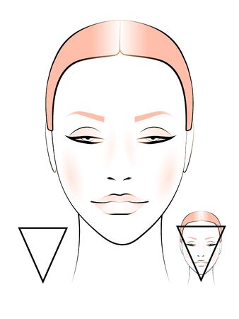 template for creating makeup with the image of a female face triangular shape
