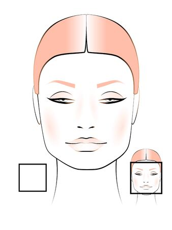 template for creating makeup with the image of a female face of a square shape