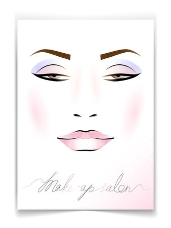 postcard with the image of a female face with makeup, for decoration of cosmetic products and more.