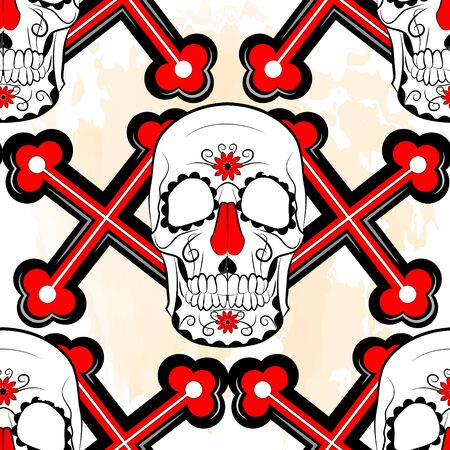 color seamless background in muted tones depicting a human skull on a background of crosses with textured background