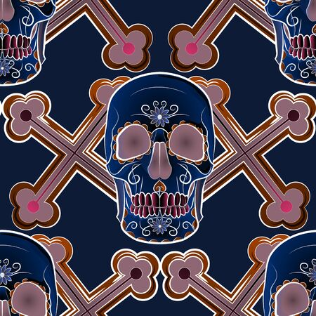 color seamless background in dark colors, depicting a human skull on a background of crosses. 向量圖像