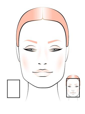 template to create makeup with image of female face rectangular shape
