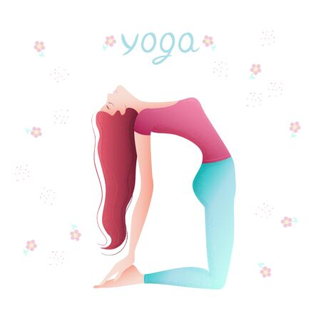 A woman does an exercise in the form of a yoga pose. Illustration with the image of a cartoon character. Witness exercise, meditation, color drawing. Gym, pilates, yoga classes isolated design element