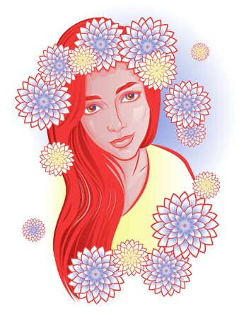 A fictional portrait of a beautiful red-haired girl in a flower wreath. Bright illustration on a white background. Stylized chrysanthemum flowers Иллюстрация