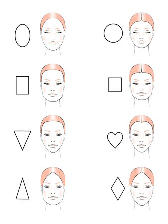 vector set with womens faces. Different face shapes to create makeup. Template for a makeup artist. Ilustracja