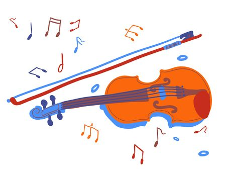 the violin is hand-drawn. Musical instrument drawn in cartoon style. isolated object on a white background Illustration