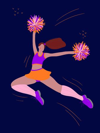 color illustration with the image of a sports girl cheerleader. Sports lifestyle, a drawing drawn by hand in a cartoon style.