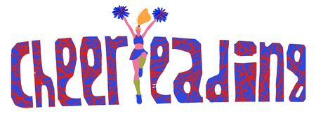 illustration of a cheerleader girl in a tracksuit. Hand-drawn picture in cartoon style. Lettering.