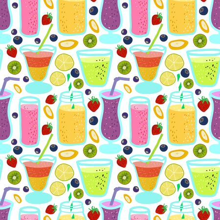 bright seamless pattern with cocktails and juicy fruit in a cartoon style. Decor for fabric, Wallpaper and wrapping paper.