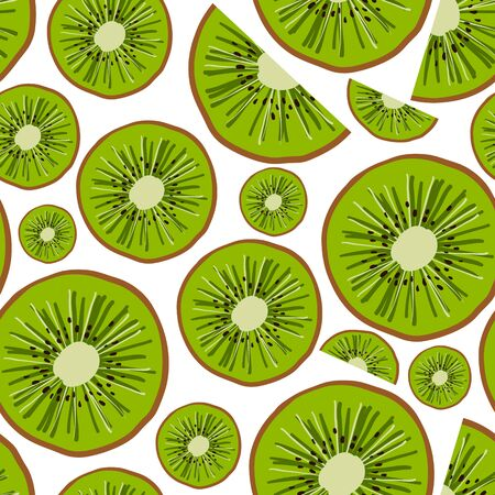 seamless pattern drawn by hand in a cartoon style. Element in the form of kiwi slices. Decor for textiles and packaging paper. Healthy diet.
