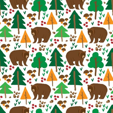 color seamless pattern drawn by hand with the image of a brown bear in the forest. Cartoon style. Decor for children's textiles, Wallpaper or packaging paper Vectores