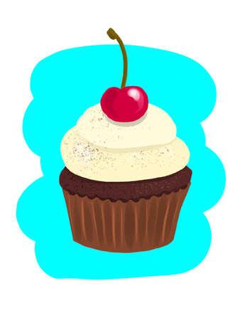 bright illustration of a vanilla cupcake with cherries. A hand-drawn drawing. cartoon graphics Çizim