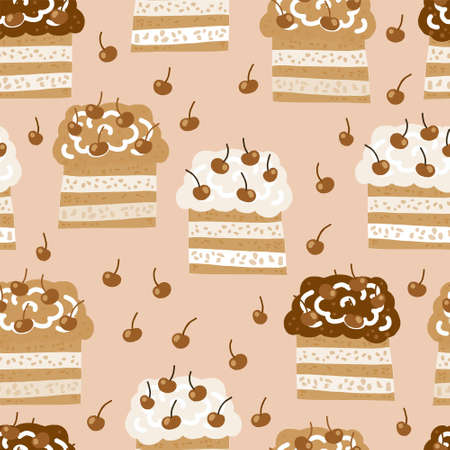 seamless pattern in a delicate beige color scheme with the image of cakes with air chocolate cream. Drawing in cartoon style. Decor for textiles and packaging paper.