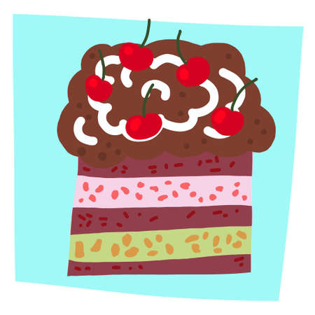 bright and colorful illustration of a cartoon cake with cream and chocolate. drawing in cartoon style. decor for greeting cards, print. Stock Illustratie
