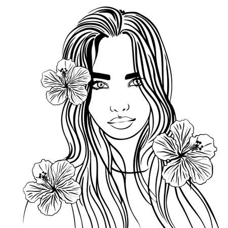 black-and-white sketch-style drawing of a beautiful long-haired girl with flowers. A drawing drawn by hand. picture for coloring