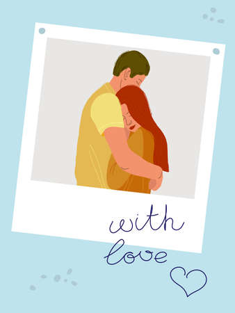 color illustration of a couple in love. A tender embrace. Hand-drawing in a cartoon style. People. Vettoriali