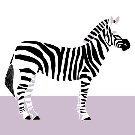 Stylized monochrome illustration of a Zebra. poster or print.