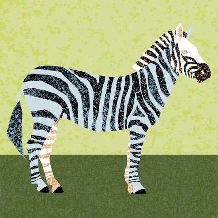 Color stylized illustration of a Zebra. using the texture. poster or print.  イラスト・ベクター素材