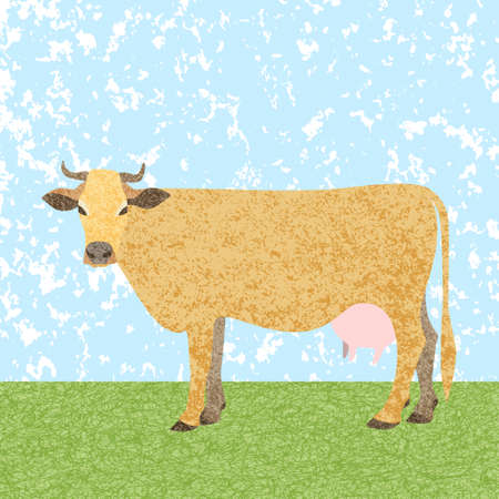 Color illustration of a cow grazing in a meadow. Using a texture. Design for a poster or print.
