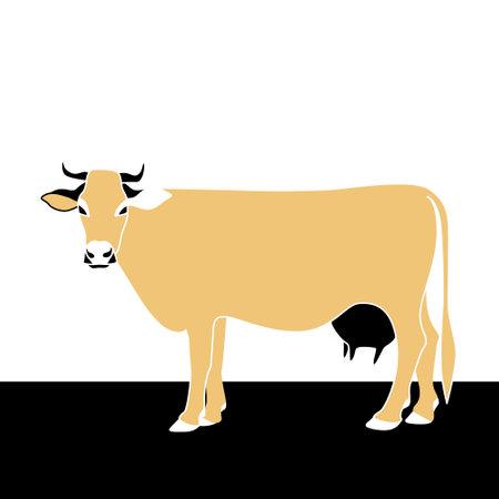 Illustration of a cow. The use of 3 colors. Ilustração