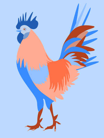 A bright illustration with the image of a rooster.