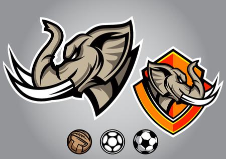 elephant head: elephant head emblem illustration design