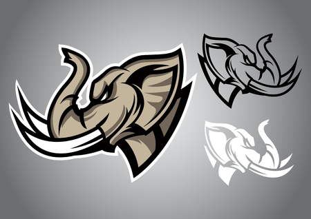 elephant head elephant head linethai logo vector emblem illustration design idea creative Illustration