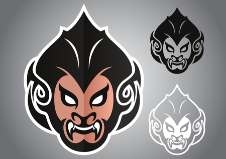 primate: monkey head thai emblem illustration design idea creative