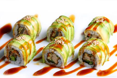 maki sushi: Dragon rouleau maki sushi Banque d'images