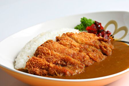 Tonkatsu Curry Rice flavorful Japanese katsu curry on White background