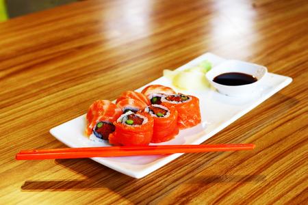 susi: japanese salmon sashimi food set