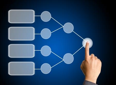 tree diagram: spinta mano sul diagramma vuoto albero decisionale in mano per il business analizzare