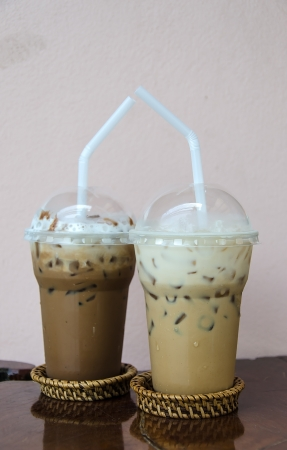 mocca: Ice Coffee latte and Ice Coffee mocca Stock Photo