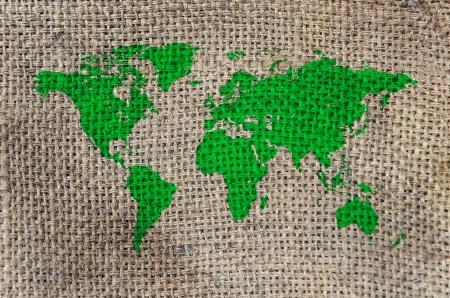 World Map, World background on Burlap photo