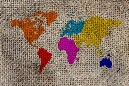 World Map, World background on Burlap photo