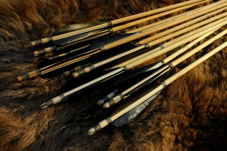 Traditional wooden arrows on a bison hide